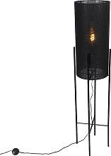 Design floor lamp black linen shade black - Rich