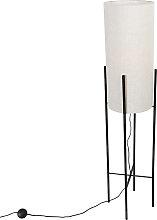 Design floor lamp black linen shade gray - Rich