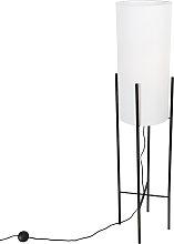 Design floor lamp black linen shade white - Rich