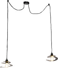 Design hanging lamp 2 lights with spiral shade 20