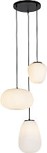 Design hanging lamp black 3-lights with opal glass