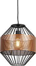 Design hanging lamp copper with black 30 cm -