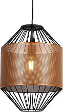 Design hanging lamp copper with black 33 cm -