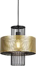 Design hanging lamp gold with black 30 cm - Tess