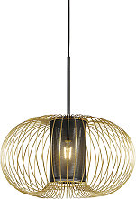 Design hanging lamp gold with black 50 cm - Marnie