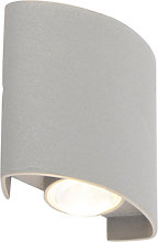 Design outdoor wall lamp silver incl. LED 2-lights