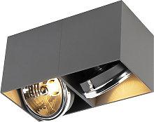 Design spot rectangular 2-light gray incl. 2 x G9