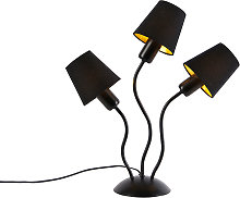 Design table lamp black 3-lights with clamp caps -