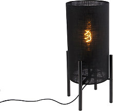 Design table lamp black linen shade black - Rich