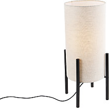 Design table lamp black linen shade gray - Rich