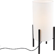 Design table lamp black linen shade white - Rich
