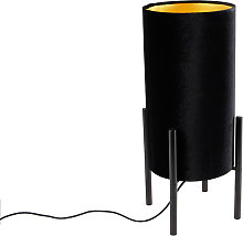 Design table lamp black velor shade black with