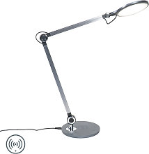 Design table lamp gray incl. LED with wireless