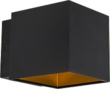 Design wall lamp black / gold incl. LED - Caja