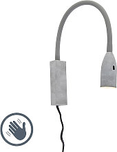 Design wall lamp gray with flexarm dimmable incl.