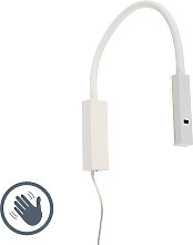 Design wall lamp white with flexarm dimmable incl.