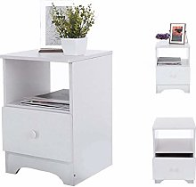 Design White Bedside Cabinet with 1 Drawer, Unique
