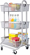 DESIGNA Storage Trolley 3-Tier Rolling Cart Mesh