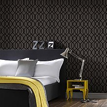 Designer Knightsbridge Flock Noir Wallpaper