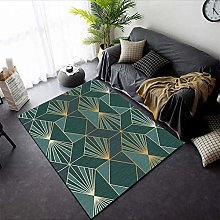 Designer living room rug, low pile mat Dark green