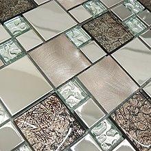 Designer Onyx Bronze & Stainless Steel Mosaic