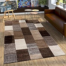 Designer Rug With Contour-cut Check Pattern In