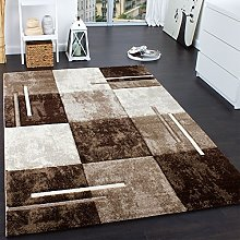 Designer Rug with Contour Cut Chequered Brown