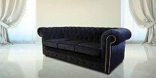 Designer Sofas 4 U - Black Fabric Chesterfield 3