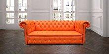 Designer Sofas 4 U - Bright Orange Leather