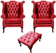 Designer Sofas 4 U - Chesterfield 2 x Queen Anne