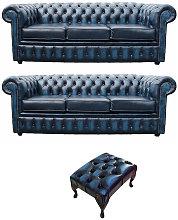 Designer Sofas 4 U - Chesterfield 3+3+footstool