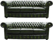 Designer Sofas 4 U - Chesterfield 3+3 Leather Sofa