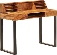 Desk 110x50x94 cm Solid Sheesham Wood and Steel