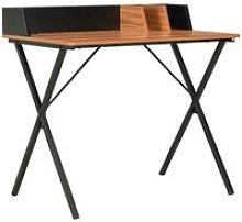 Desk Black and Brown 80x50x84 cm - Hommoo