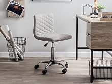 Desk Chair Beige Fabric Seat Quilted Gas Lift