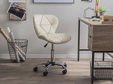 Desk Chair Beige Faux Leather Swivel Adjustable