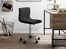 Desk Chair Black Fabric Seat Quilted Gas Lift