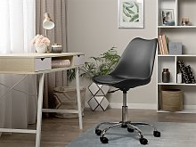Desk Chair Black Faux Leather Height Adjustable