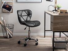 Desk Chair Black Faux Leather Swivel Adjustable