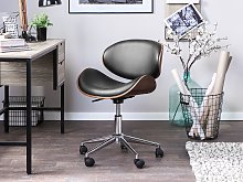 Desk Chair Black Faux Leather Upholstered Gas Lift