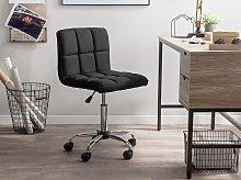 Desk Chair Black Swivel Adjustable Height Metal Leg
