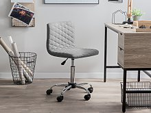 Desk Chair Grey Fabric Seat Quilted Gas Lift