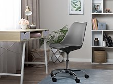 Desk Chair Grey Faux Leather Height Adjustable