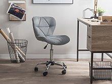 Desk Chair Grey Faux Leather Swivel Adjustable