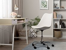 Desk Chair White Faux Leather Height Adjustable