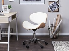 Desk Chair White Faux Leather Upholstered Gas Lift