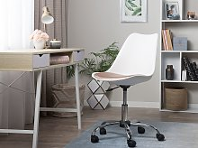 Desk Chair White with Gold Faux Leather Height