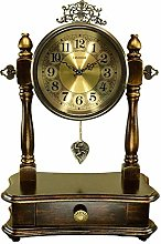 Desk Clock with Pendulum and Drawer Fireplace