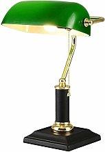 Desk Lamp / Bankers Lamp / Office Lamp Green Glass