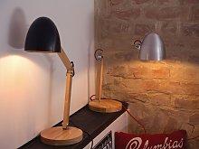 Desk Lamp Silver Metal Shade Adjustable Wooden Arm